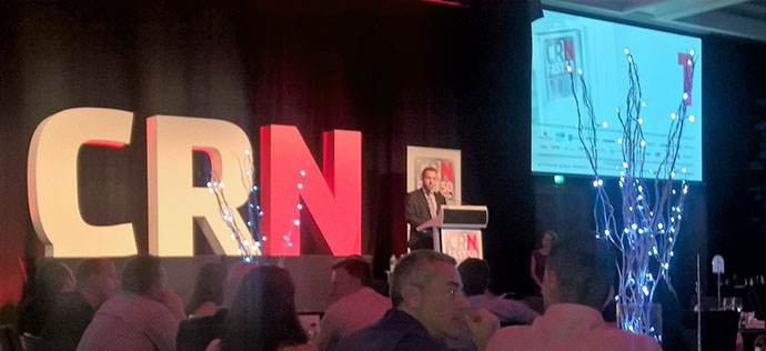 CRN Editor Steven Kiernan presenting the awards to the 50 award winners 19 from Victoria, 13 from NSW, 8 from Queensland, 6 from Western Australia, 6 from ACT and 1 from South Australia.  Overall, the CRN Fast 50 Generated 665.1 Million of revenue with and average growth of an amazing 67.5%.